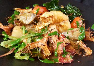 Menestra de verduras con saquitos de cordero